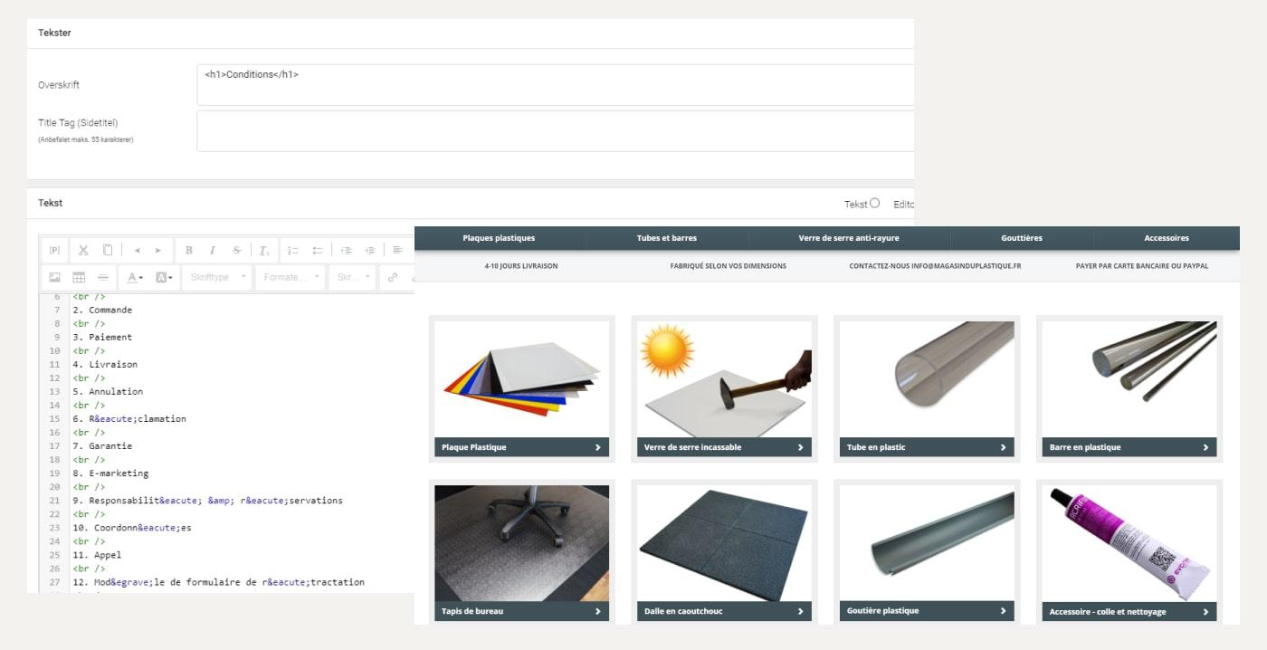 To screenshots af Bordpladefabrikken i DanDomain