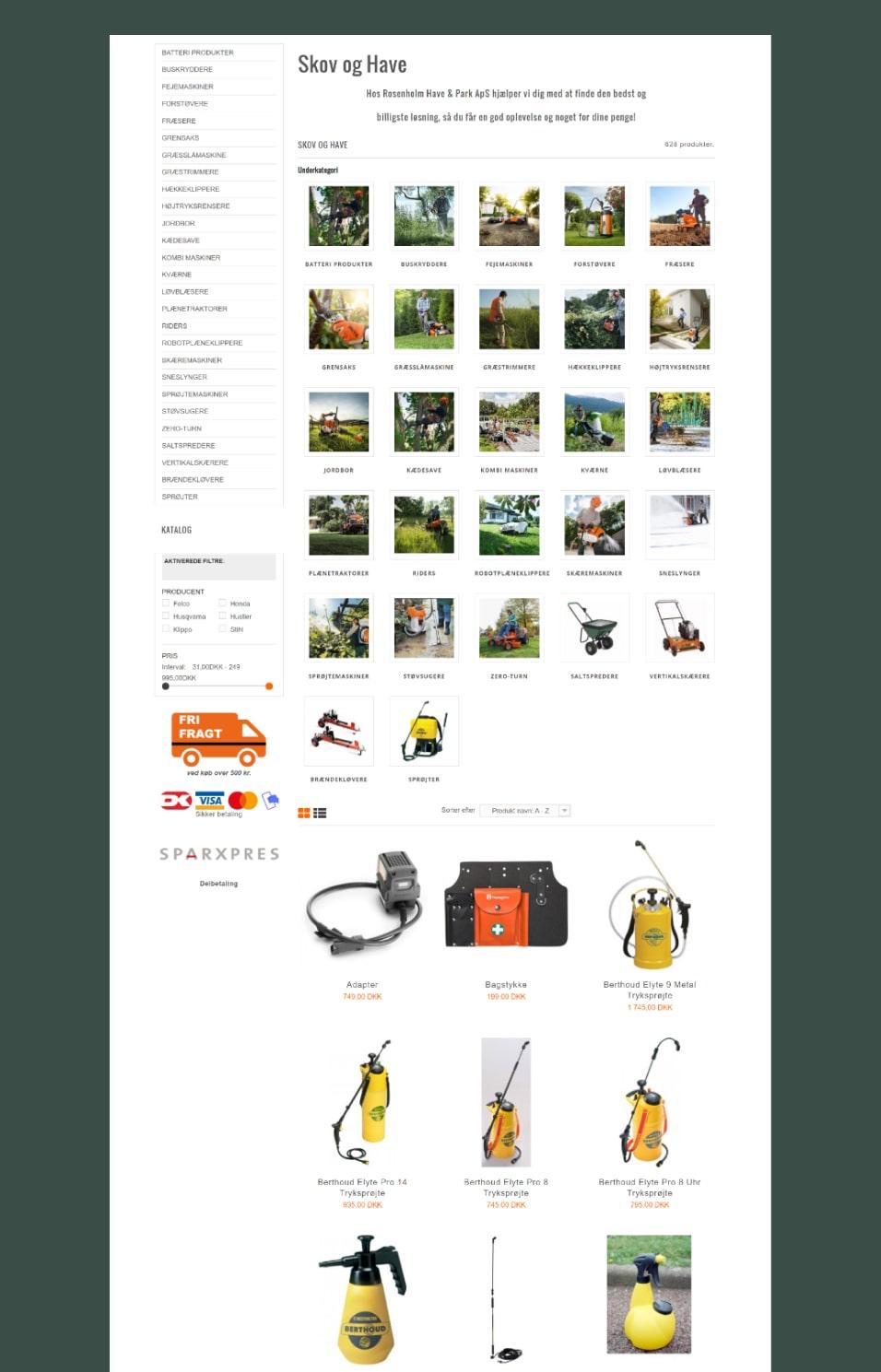 Full size screenshot af Rosenholm Have & Parks webshop