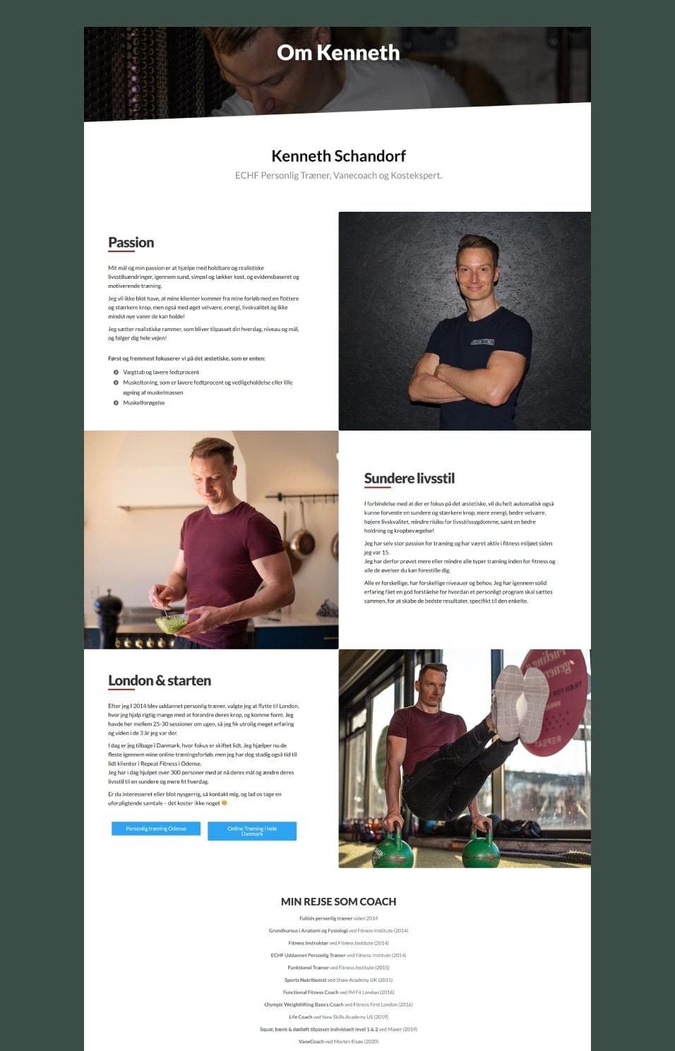 Full size screenshot af Schandorf Fitness hjemmeside