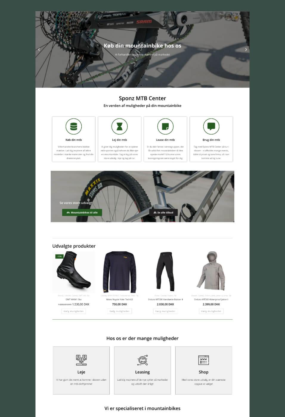Sponz MTB Center visning af webshop